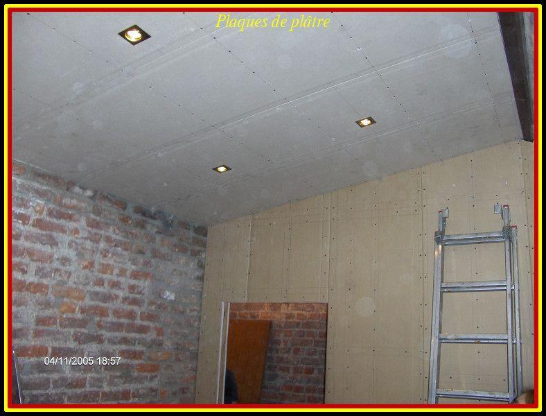 Pose des plaques de pl tre au plafond for Prix pose plaque de platre